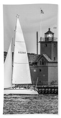 Evening Sail At Holland Light - Bw Hand Towel