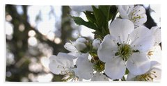 Bath Towel featuring the photograph Evening Show - Cherry Blossoms by Angie Rea
