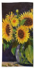 Evening Table Sun Flowers Bath Towel