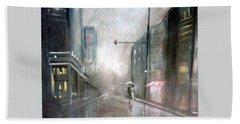 Evening Walk In The Rain Hand Towel by Raymond Doward