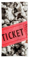 Event Ticket Lying On Pile Of Popcorn Bath Towel