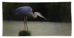 Ever Vigilant - The Great Blue Heron Hand Towel by Scott Cameron