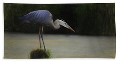 Ever Vigilant - The Great Blue Heron Bath Towel by Scott Cameron