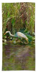 Hand Towel featuring the painting Everglades Hunter by David  Van Hulst