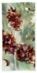 Hand Towel featuring the painting Evergreen Branch by Dawn Derman