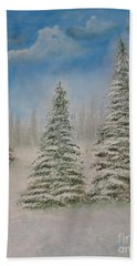 Evergreens In Snow  Bath Towel