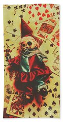 Evil Clown Doll On Playing Cards Bath Towel