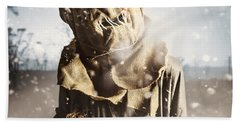 Evil Scarecrow In A Halloween Field Of Darkness Hand Towel