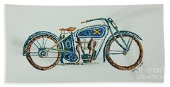 Hand Towel featuring the painting Excelsior Motorcycle by Tamyra Crossley