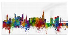 Exeter England Skyline Hand Towel by Michael Tompsett