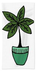 Exotic Palm Plant Illustration Bath Towel