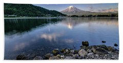 Exploring My Way Along Lake Kawaguchi Shoreline Hand Towel