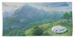 Hand Towel featuring the digital art Exploring New Landscape Spaceship by Martin Davey