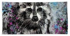 Expressive Raccoon Hand Towel