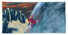 Extreme Ski Painting  Hand Towel