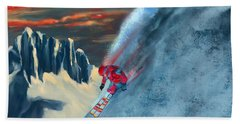 Extreme Ski Painting  Hand Towel by Sassan Filsoof
