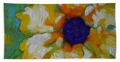 Bath Towel featuring the painting Eye Of The Flower by Alison Caltrider