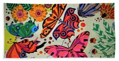 Hand Towel featuring the painting Eyes Of The Butterflies by Alison Caltrider