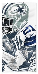 Bath Towel featuring the mixed media Ezekiel Elliott Dallas Cowboys Pixel Art 5 by Joe Hamilton