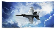 Blue Hand Towel featuring the photograph F18 Fighter Jet by Aaron Berg
