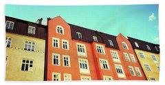Facades Of Colorful Buildings In Stockholm Bath Towel