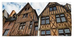 Facades Of Half-timbered Houses In Tours, France Bath Towel