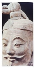 Bath Towel featuring the photograph Face Of A Terracotta Warrior by Heiko Koehrer-Wagner