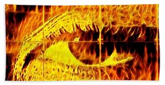 Face The Fire Bath Towel by Gina Callaghan