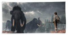Bath Towel featuring the digital art Facing The Mammoths by Daniel Eskridge