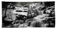 Hand Towel featuring the photograph Factory Falls In Winter by Chris Lord