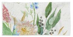 Faded Glory Chinoiserie - Floral Still Life 1 Chrysanthemum Mum W Seeded Eucalyptus Bath Towel