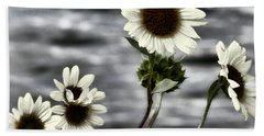 Bath Towel featuring the photograph Fading Sunflowers by Susan Kinney