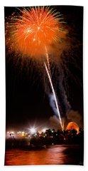 Fireworks As Seen From The Ventura California Pier Bath Towel
