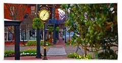 Fairhope Ave With Clock Down Section Street Hand Towel