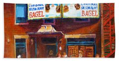 Hand Towel featuring the painting Fairmount Bagel With Blue Car  by Carole Spandau