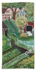 Hand Towel featuring the painting Fairview Farm by Virginia Coyle