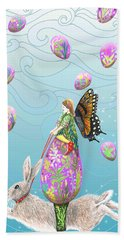 Fairy Riding An Egg And Easter Bunny Hand Towel
