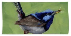 Bath Towel featuring the painting Fairy Wren With Lunch  by Margaret Stockdale