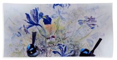 Hand Towel featuring the painting Fairy Wrens In A Cottage Garden by Ryn Shell