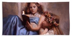 Hand Towel featuring the painting Fairytales And Lace - Portrait Of Girls Reading A Book by Karen Whitworth