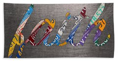 Faith Wording Sign License Plate Art Letters On Aluminum Recycled Sheet Hand Towel