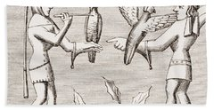 Falconers Dressing Their Birds. 19th Hand Towel