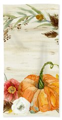 Fall Autumn Harvest Wreath On Birch Bark Watercolor Hand Towel