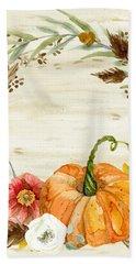 Fall Autumn Harvest Wreath On Birch Bark Watercolor Bath Towel