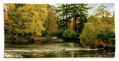 Fall Colour On The River Ness Islands Bath Towel by Jacqi Elmslie