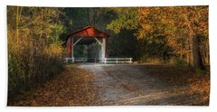 Bath Towel featuring the photograph Fall Covered Bridge by Dale Kincaid