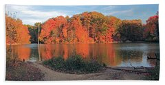 Fall Day At The Creek Bath Towel by Angela Murdocks