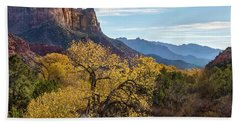 Bath Towel featuring the photograph Fall Evening At Zion by James Woody
