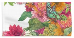 Hand Towel featuring the painting Fall Florals With Illustrated Butterfly by Judith Cheng