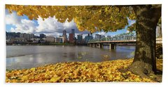 Fall Foliage With Portland Oregon City Hand Towel